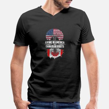 America Living in america with canadian roots - Men's V-Neck T-Shirt