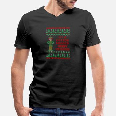 Cotton Im Cotton Headed Ninny Muggins Christmas Sweater - Men's V-Neck T-Shirt by Canvas