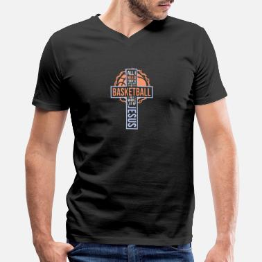 Wos Faithful Jesus and Basketball - Men's V-Neck T-Shirt