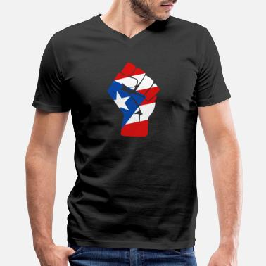 A Puerto Rican Puerto rican - puerto rican flag raised fist of - Men's V-Neck T-Shirt by Canvas