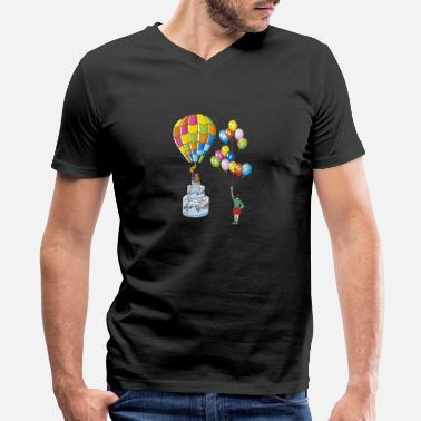 Hot Cakes Birthday cake with hot air balloon - Men's V-Neck T-Shirt by Canvas