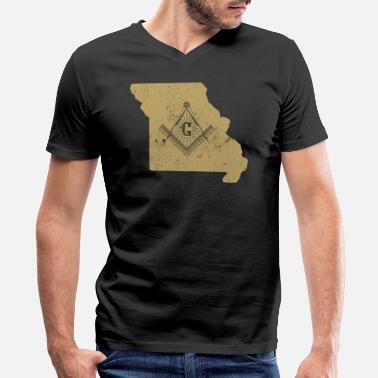 Brotherhood Clothing Missouri Freemason Clothing Masonic Clothing - Men's V-Neck T-Shirt by Canvas