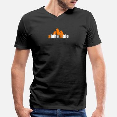 Alpha Male Geek Alpha Male funny tshirt - Men's V-Neck T-Shirt by Canvas