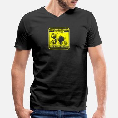 Depression Jokes Computer breakdown depression recovery center - Men's V-Neck T-Shirt by Canvas