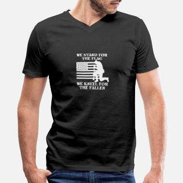 Stand We Stand For The Flag and kneel For the Fallen - Men's V-Neck T-Shirt