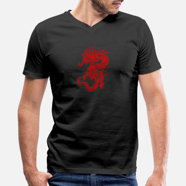 Affliction dragon red - Men's V-Neck T-Shirt by Canvas