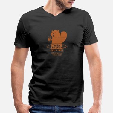 Hairy Beaver The Hairy Beaver Bar Mens V Neck T