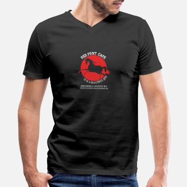 Ponies Red pony cafe - It is a beautiful day - Men's V-Neck T-Shirt