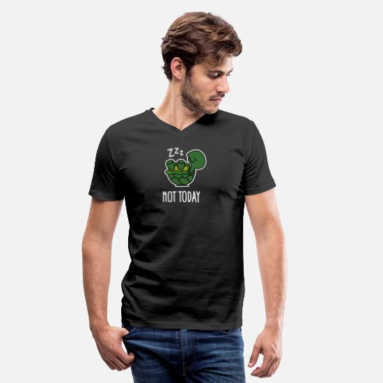 Turtle T-Shirts - Not today - cute sleeping lazy turtle baby - Men's V-Neck T-Shirt black