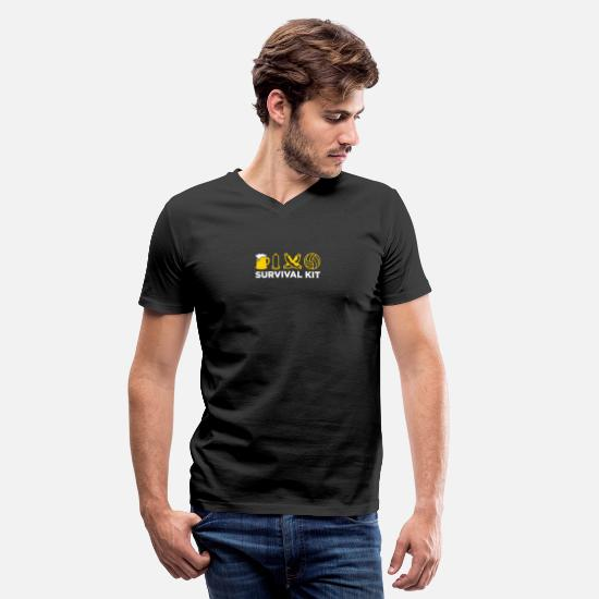 Soccer T-Shirts - Survival Kit For Men - Men's V-Neck T-Shirt black