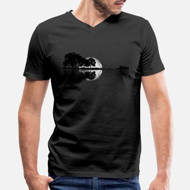 Acoustic Guitar Guitar - Nature Reflection With Moon - Men's V-Neck T-Shirt