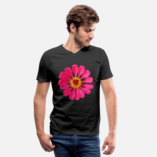 Birthday T-Shirts - colorful pink zinnia, flower, blooms, flowers, - Men's V-Neck T-Shirt black
