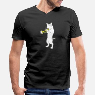 Avantgarde Music - jazz | trumpet | cat playing trumpet | - Men's V-Neck T-Shirt by Canvas
