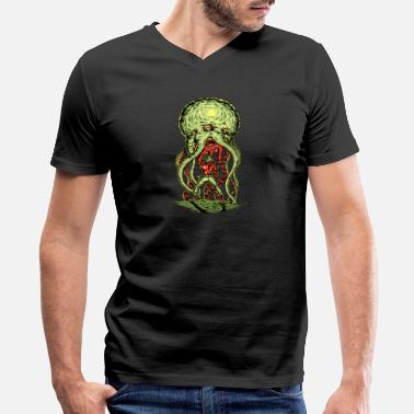 Alien Vs Predator Tentacle Space Alien VS Cowboy - Men's V-Neck T-Shirt by Canvas