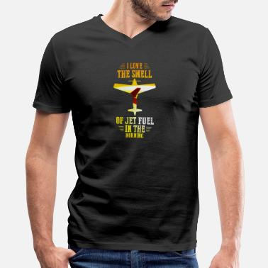 Jet-fuel Funny Jets - I Love The Smell Of Fuel - Humor - Men's V-Neck T-Shirt by Canvas