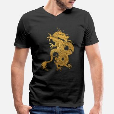 Piece Traditional Chinese Yellow Dragon Tribal - Men's V-Neck T-Shirt