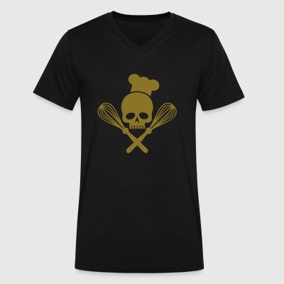 skull with crossed whisks - Men's V-Neck T-Shirt by Canvas