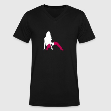 A Sexy Girl Kneeling On The Floor - Men's V-Neck T-Shirt by Canvas