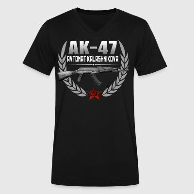AK 47 RUSSIAN RIFLE - Men's V-Neck T-Shirt by Canvas