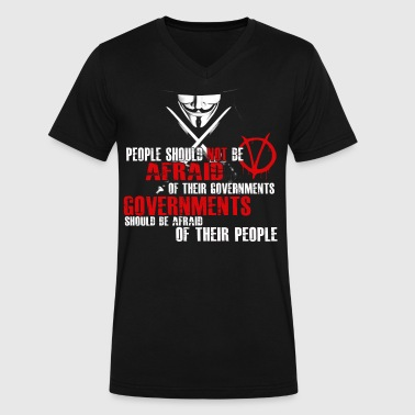 GUY FAWKES V FOR VENDETTA QUOTE - Men's V-Neck T-Shirt by Canvas