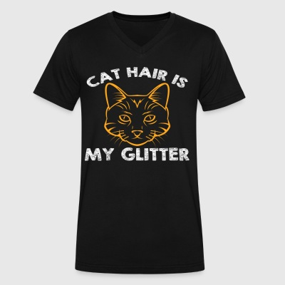 CAT HAIR IS MY GLITTER - Men's V-Neck T-Shirt by Canvas