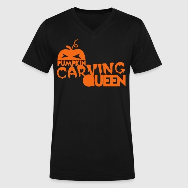 pumpkin carving queen for Halloween - Men's V-Neck T-Shirt by Canvas
