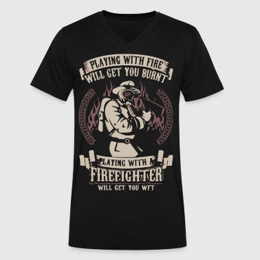 Fire Fighter - Men's V-Neck T-Shirt by Canvas