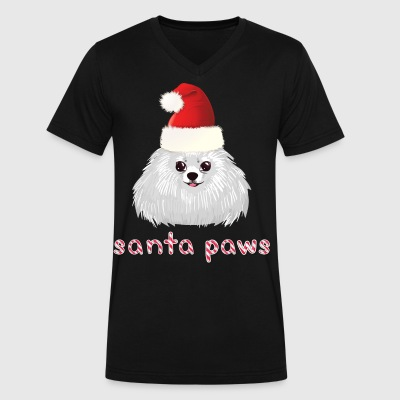 Pomeranian Puppy Santa Paws Pom Pomeranian Christm - Men's V-Neck T-Shirt by Canvas