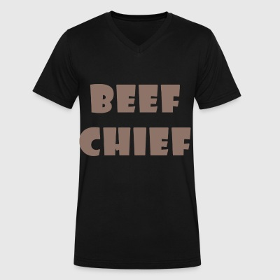 beef chief - Men's V-Neck T-Shirt by Canvas