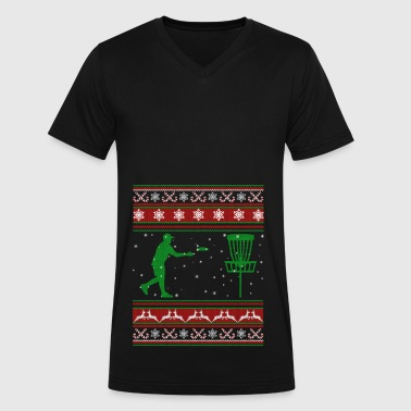 Ultimate Frisbee Christmas Shirt - Men's V-Neck T-Shirt by Canvas