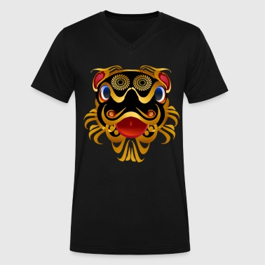 Black 'n Gold Chinese Dragon Face - Men's V-Neck T-Shirt by Canvas