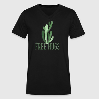 free hugs cactus - Men's V-Neck T-Shirt by Canvas