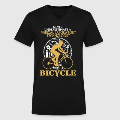 Medical Lab Tech With A Bicycle Shirt - Men's V-Neck T-Shirt by Canvas