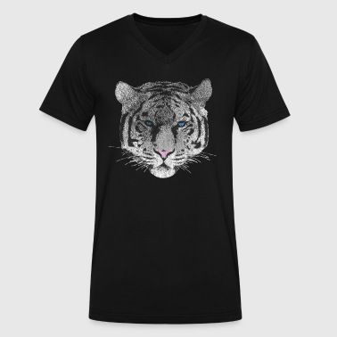 Tiger vintage - used effect - Men's V-Neck T-Shirt by Canvas