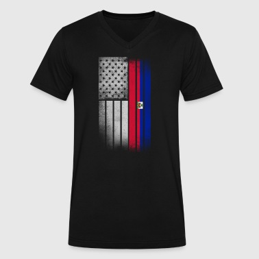 Haitian American Flag - Men's V-Neck T-Shirt by Canvas