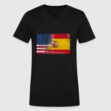 Spanish American Half Spain Half America Flag - Men's V-Neck T-Shirt by Canvas