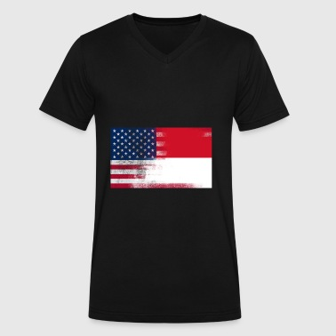 Indonesian American Half Indonesia Half America - Men's V-Neck T-Shirt by Canvas
