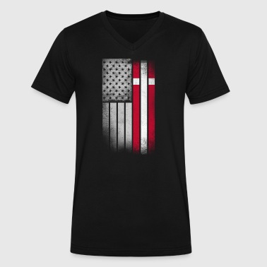 Danish American Flag - Men's V-Neck T-Shirt by Canvas