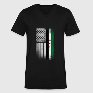 Syrian American Flag - Men's V-Neck T-Shirt by Canvas