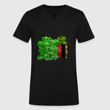 Zambia Vintage Flag - Men's V-Neck T-Shirt by Canvas