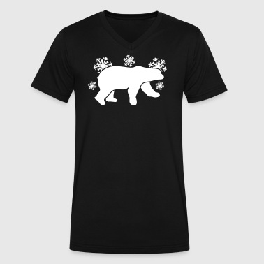 polar bear winter with snowflakes - Men's V-Neck T-Shirt by Canvas
