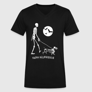 Dachshund Halloween - Men's V-Neck T-Shirt by Canvas