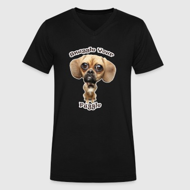 Snuggle Your Puggle - Men's V-Neck T-Shirt by Canvas