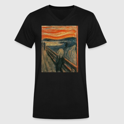 The Scream (Textured) by Edvard Munch - Men's V-Neck T-Shirt by Canvas