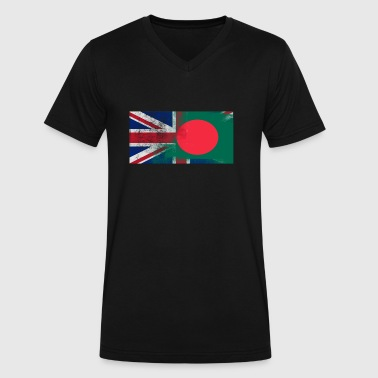 British Bangladeshi Half Bangladesh Half UK Flag - Men's V-Neck T-Shirt by Canvas