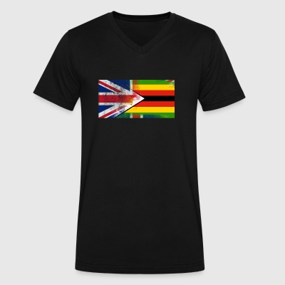 British Zimbabwean Half Zimbabwe Half UK Flag - Men's V-Neck T-Shirt by Canvas