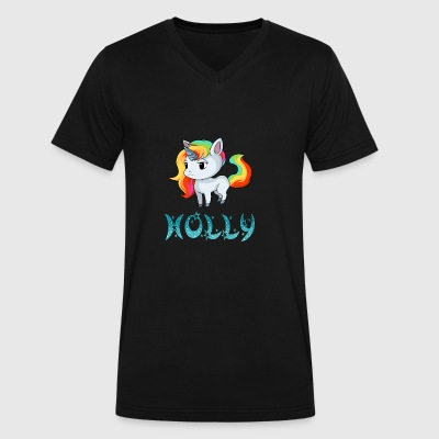 Holly Unicorn - Men's V-Neck T-Shirt by Canvas