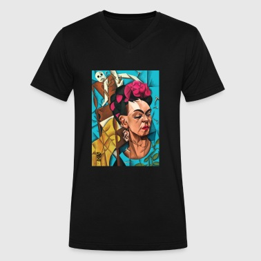 Frida Meets Cubes - Men's V-Neck T-Shirt by Canvas