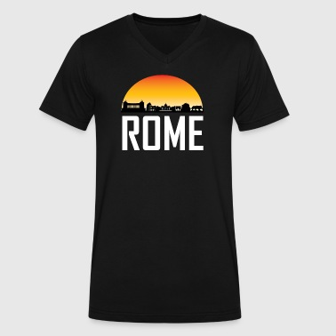 Sunset Skyline Silhouette of Rome Italy - Men's V-Neck T-Shirt by Canvas