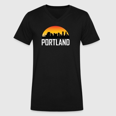 Sunset Skyline Silhouette of Portland OR - Men's V-Neck T-Shirt by Canvas